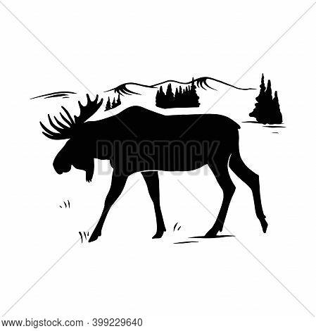 Horned Elk, Moose - Mountain Landscape, Wildlife Stencils - Mountain Silhouettes For Cricut, Wildlif