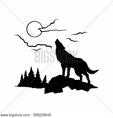 Wolf Howls At The Moon - Forest Landscape, Wildlife Stencils - Mountain Silhouettes For Cricut, Wild