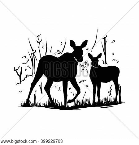 Moose, Moose Cow Calf - Mountain Landscape, Wildlife Stencils - Mountain Silhouettes For Cricut, Wil