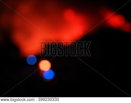 Abstract Burning House And Fire Truck Beacon. Dangerous Situation. Increased Fire Hazard.