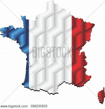 France Map From Many Cubes - Illustration,  Three Dimensional Map Of France