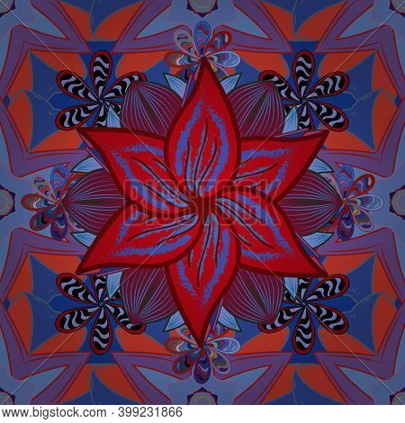 Vector Illustration. Seamless Pattern With Floral Ornament. Flowers On Violet, Blue And Red Colors.