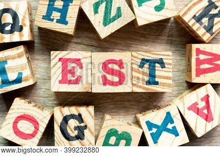 Alphabet Letter Block In Word (abbreviation Of Established, Estimated, Eastern Time Zone, Expressed