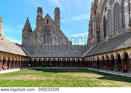 Mont Saint Michel, France - September 2, 2019: This Is The Cloister Of La Mervey In The Benedictine