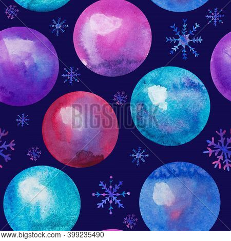 Watercolor Christmas Balls Seamless Pattern. Hand Drawn Christmas Illustrations With Christmas Balls