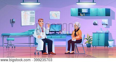 Geriatric Medicine Specialist On Consultation With Eldery Woman, Doctors Cabinet Office Interior. Ve