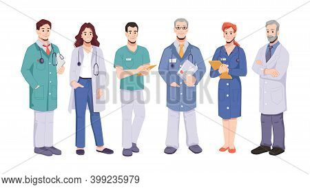 Characters Working In Hospitals Or Clinics. Isolated Male And Female Doctors With Clipboards And Ste