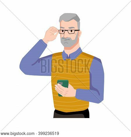 Guy Smirking With Smartphone Isolated Bearded Middle Age Man In Glasses. Vector Handsome Person Usin