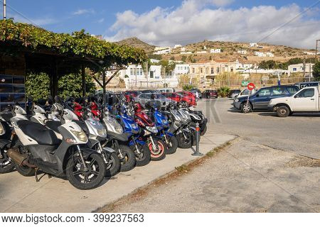 Ios, Greece - September 20, 2020: Scooters And Quads Ready For Rent In The Centre Of The Main Villag