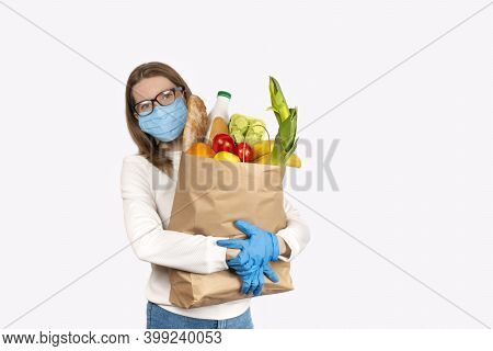 Safe Food Delivery Or Donation Concept. Food Delivery Or Shopping During Coronavirus Quarantine. You