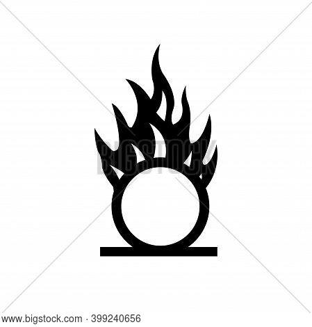 Warning Oxidizer Black Icon, Vector Illustration, Isolate On White Background Label. Eps10
