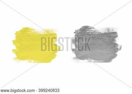 Trendy Colors Of The Year 2021 Illuminating Yellow And Ultimate Grey. Two Samples Of Illuminating An