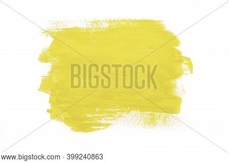 Trendy Color Of The Year 2021 Illuminating Yellow. Sample Of Illuminating Yellow Paint On White Isol