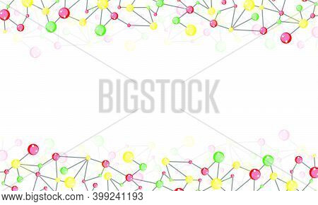 Polygonal Background Of Colored Molecular In Red, Yellow And Green. Scientific Chemical Abstract Bac