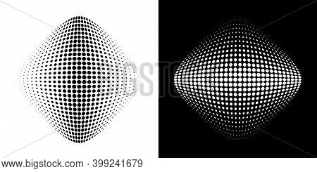 Halftone Circle Dots Curved Gradient Texture Background. 3d Logo. Curve Dotted Emblem Using Halftone
