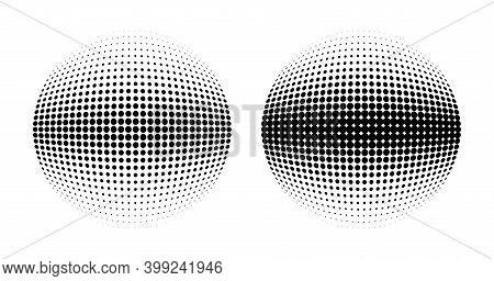 Halftone Circle Dots 3d Sphere. Logo Emblem Design Element For Medical, Treatment, Cosmetic. Globe I