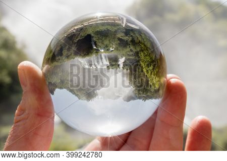 Marmore Falls, Umbria, Italy (cascata Delle Marmore) Photographed Through A Glass Lensball. Tallest