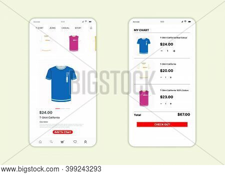 Marketplace Screen Ui, Ux, Gui And Flat Web Icon For Mobile Apps. Commerce  Or Marketplace Design Fo