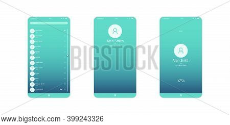 Mobile Contact Ui, Ux, Gui Screen And Flat Web Icons For Mobile Apps. Contact Information, Mobile Ca