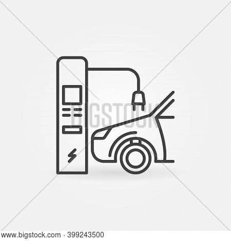 Ev And Electric Recharging Point Vector Thin Line Concept Icon Or Design Element