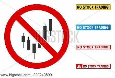 No Candlesticks Chart Sign With Captions In Rectangular Frames. Illustration Style Is A Flat Iconic