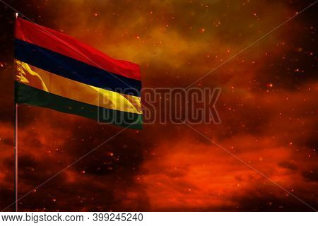 Fluttering Mauritius Flag Mockup With Blank Space For Your Data On Crimson Red Sky With Smoke Pillar