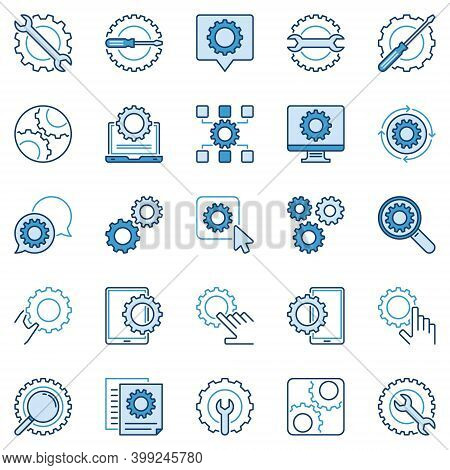 Settings Or Configuration Blue Icons Set - Vector Setup And Gear Concept Symbols Or Design Elements