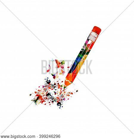 Colorful Pencil With Musical Notes Isolated. Creative Writing, Composing Music, Education Concept Ve