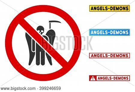 No Death Angel Sign With Words In Rectangular Frames. Illustration Style Is A Flat Iconic Symbol Ins