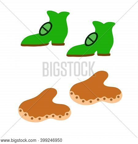 Shoes In Simple Hand Drawn Style, Design Element For Traditional Spring Irish Holiday St Patrick's D