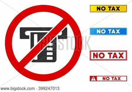 No Atm Terminal Sign With Texts In Rectangular Frames. Illustration Style Is A Flat Iconic Symbol In
