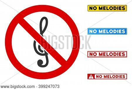 No Treble Clef Sign With Titles In Rectangle Frames. Illustration Style Is A Flat Iconic Symbol Insi