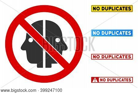 No Face Duplicity Sign With Words In Rectangle Frames. Illustration Style Is A Flat Iconic Symbol In