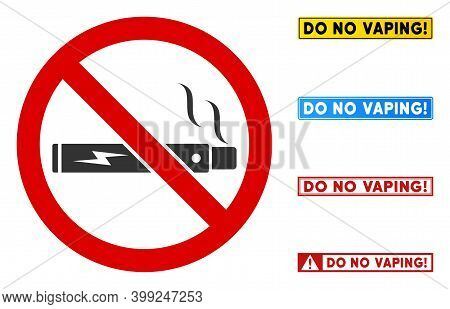 No Vaping Sign With Texts In Rectangle Frames. Illustration Style Is A Flat Iconic Symbol Inside Red