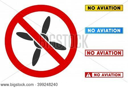 No Air Screw Sign With Texts In Rectangle Frames. Illustration Style Is A Flat Iconic Symbol Inside