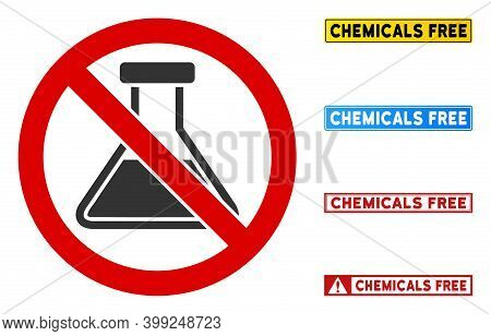 No Chemicals Sign With Captions In Rectangular Frames. Illustration Style Is A Flat Iconic Symbol In
