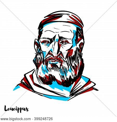 Leucippus Engraved Vector Portrait With Ink Contours On White Background. Philosopher Who Was The Ea