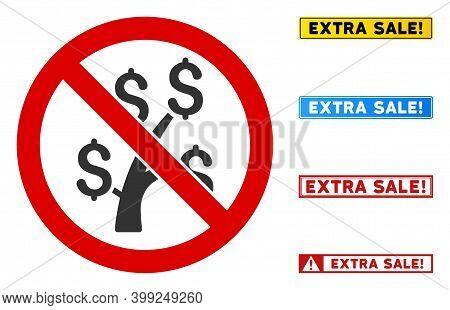 No Money Tree Sign With Captions In Rectangular Frames. Illustration Style Is A Flat Iconic Symbol I
