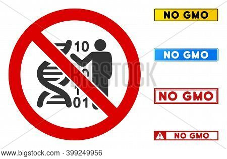 No Dna Decoding Sign With Phrases In Rectangle Frames. Illustration Style Is A Flat Iconic Symbol In