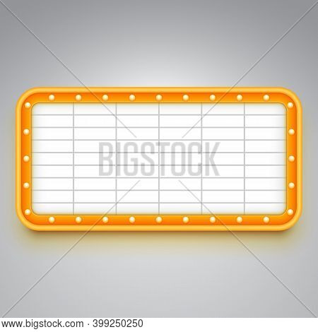 Marquee Sign Board For Announcements. Billboard For Theater Or Cinema Ads.