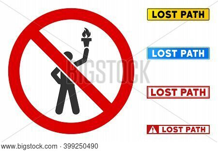 No Leader Torch Sign With Badges In Rectangular Frames. Illustration Style Is A Flat Iconic Symbol I