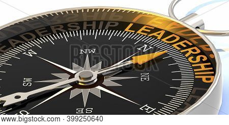 Compass Needle Pointing To Word Leadership, 3d Rendering