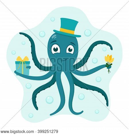 Octopus In Hat With Gift And Bouquet Of Flowers, Vector Illustration