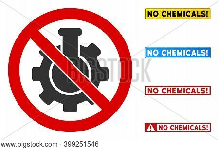 No Chemical Industry Sign With Messages In Rectangle Frames. Illustration Style Is A Flat Iconic Sym
