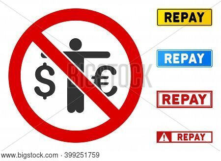 No Currency Compare Sign With Captions In Rectangle Frames. Illustration Style Is A Flat Iconic Symb