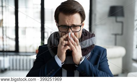 Close Up Sick Businessman Wearing Warm Scarf Blowing Running Nose