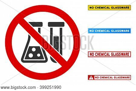 No Chemical Glassware Sign With Messages In Rectangle Frames. Illustration Style Is A Flat Iconic Sy