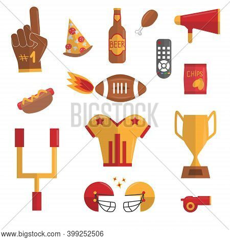 Super Bowl Flat Vector Set. Sport Games Celebration, American Football, Soccer Concept. Fastfood For