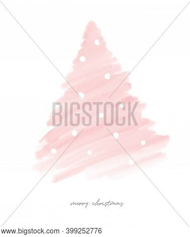 Merry Christmas. Pink Holidays. Simple Watercolor Style Pink Christmas Tree Isolated On A White Back
