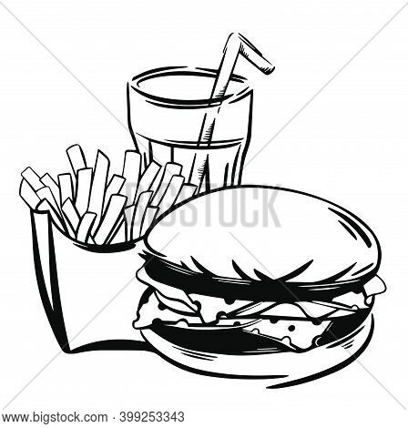 Set With Fast Food Illustration. Sketch Vector Illustration Of Burger, French Fries And Cola. Great
